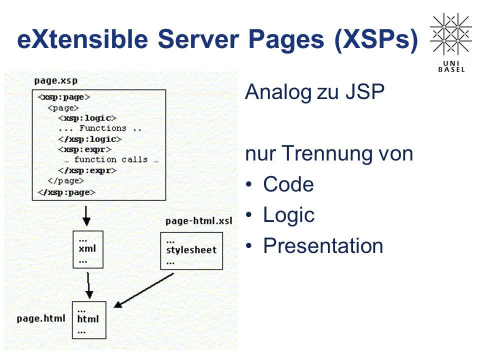 eXtensible Server Pages (XSPs) Analog zu JSP nur Trennung von Code Logic Presentation
