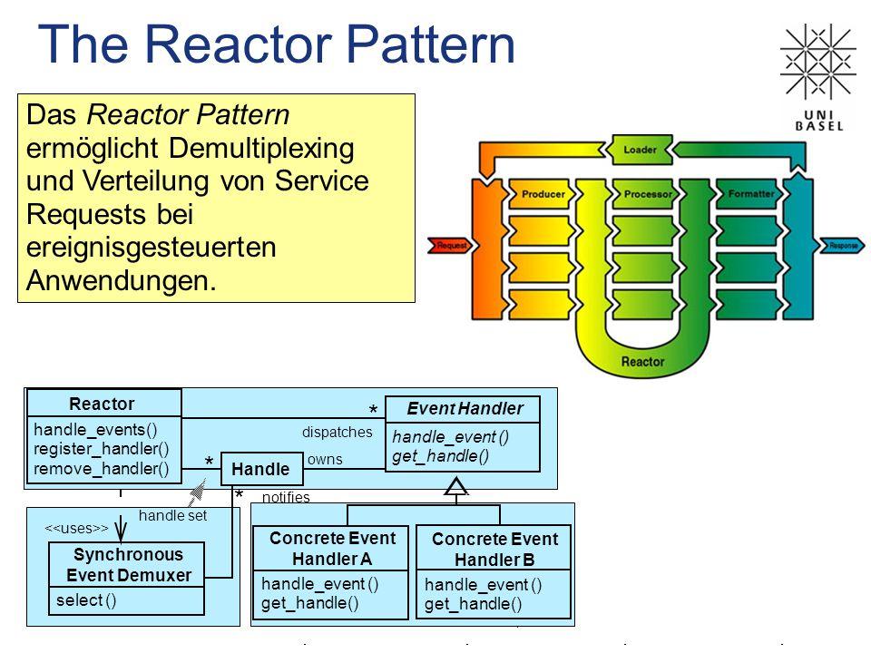 The Reactor Pattern Das Reactor Pattern ermöglicht Demultiplexing und Verteilung von Service Requests bei ereignisgesteuerten Anwendungen. Handle owns