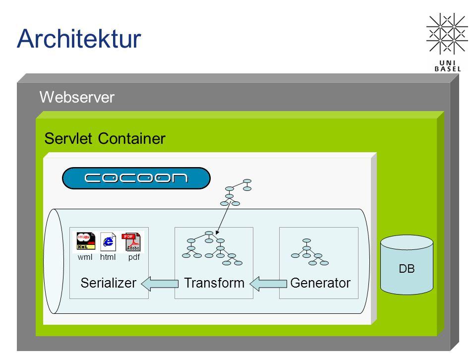 Architektur Servlet Container Webserver DB wml htmlpdf SerializerTransformGenerator