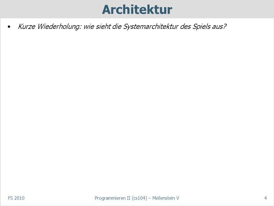 FS 2010Programmieren II (cs104) – Meilenstein V4 Architektur Kurze Wiederholung: wie sieht die Systemarchitektur des Spiels aus