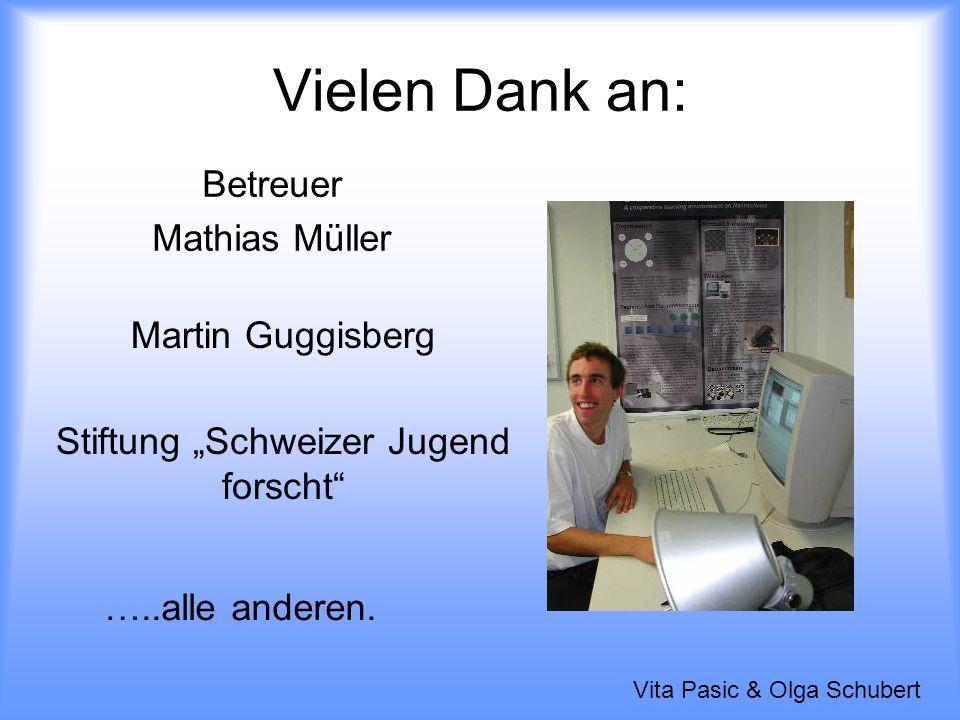 Vielen Dank an: Betreuer Mathias Müller Martin Guggisberg Stiftung Schweizer Jugend forscht …..alle anderen.