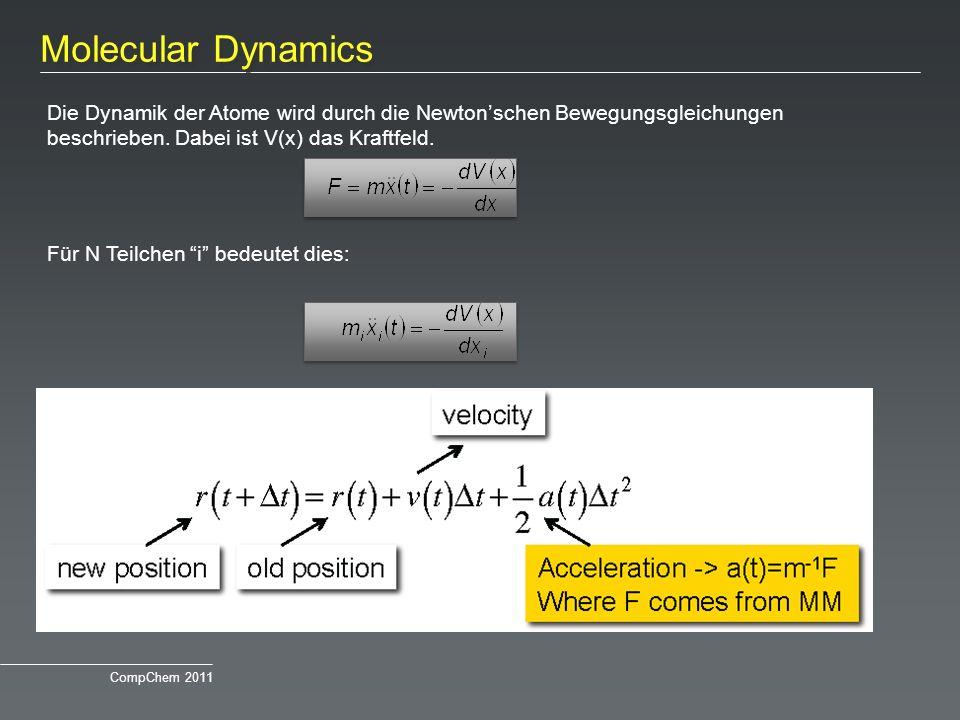 Molecular Dynamics Die Dynamik der Atome wird durch die Newtonschen Bewegungsgleichungen beschrieben. Dabei ist V(x) das Kraftfeld. Für N Teilchen i b