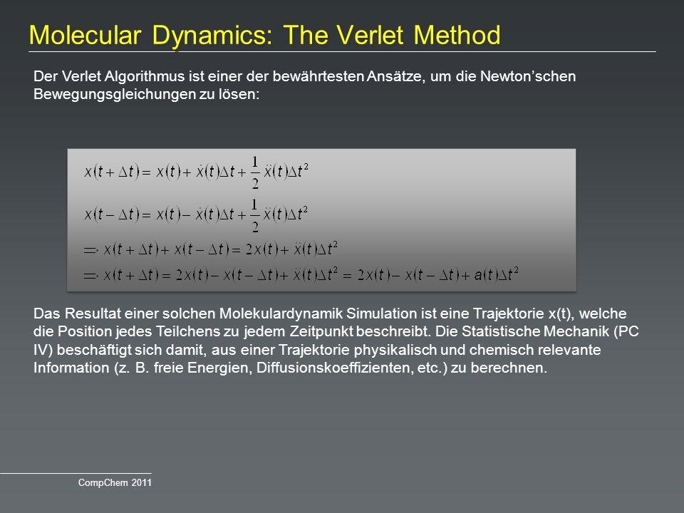 Molecular Dynamics: The Verlet Method Der Verlet Algorithmus ist einer der bewährtesten Ansätze, um die Newtonschen Bewegungsgleichungen zu lösen: Das