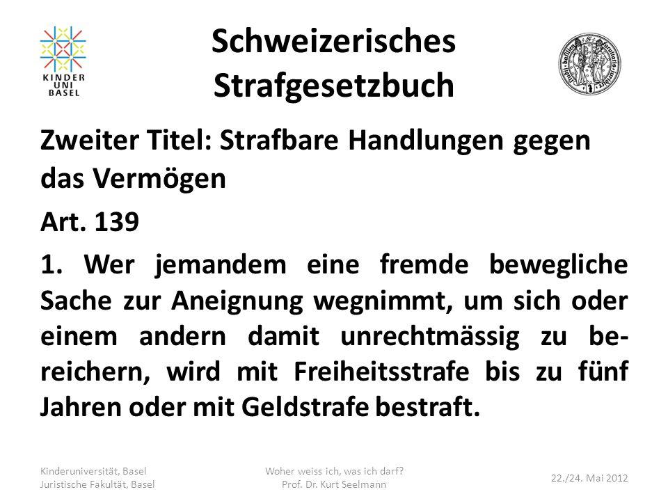 Schweizerisches Strafgesetzbuch Zweiter Titel: Strafbare Handlungen gegen das Vermögen Art. 139 1. Wer jemandem eine fremde bewegliche Sache zur Aneig