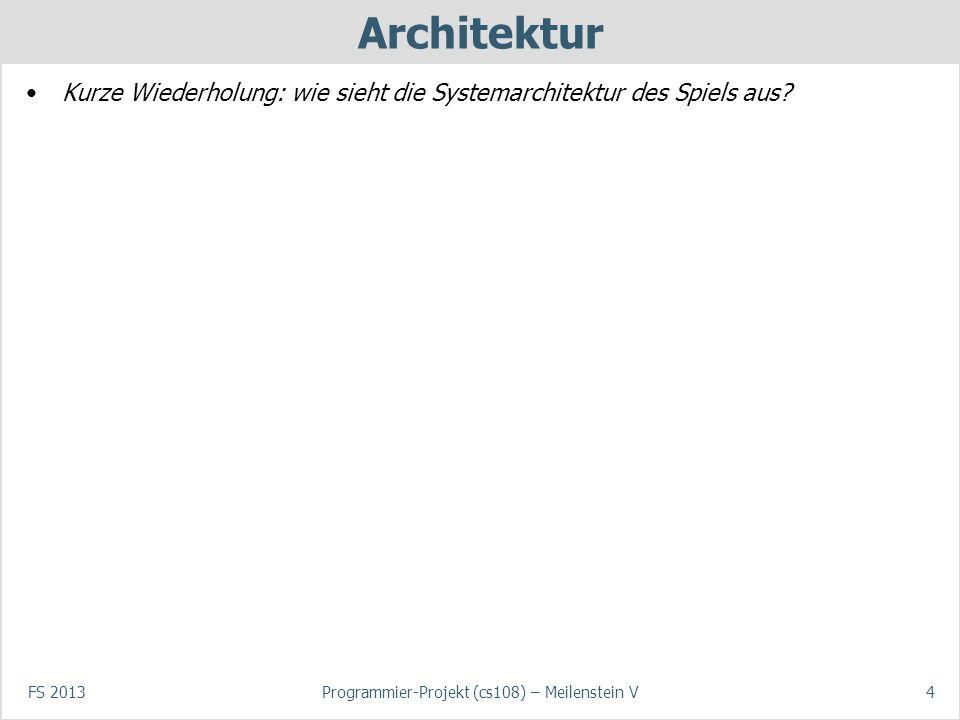 FS 2013Programmier-Projekt (cs108) – Meilenstein V4 Architektur Kurze Wiederholung: wie sieht die Systemarchitektur des Spiels aus