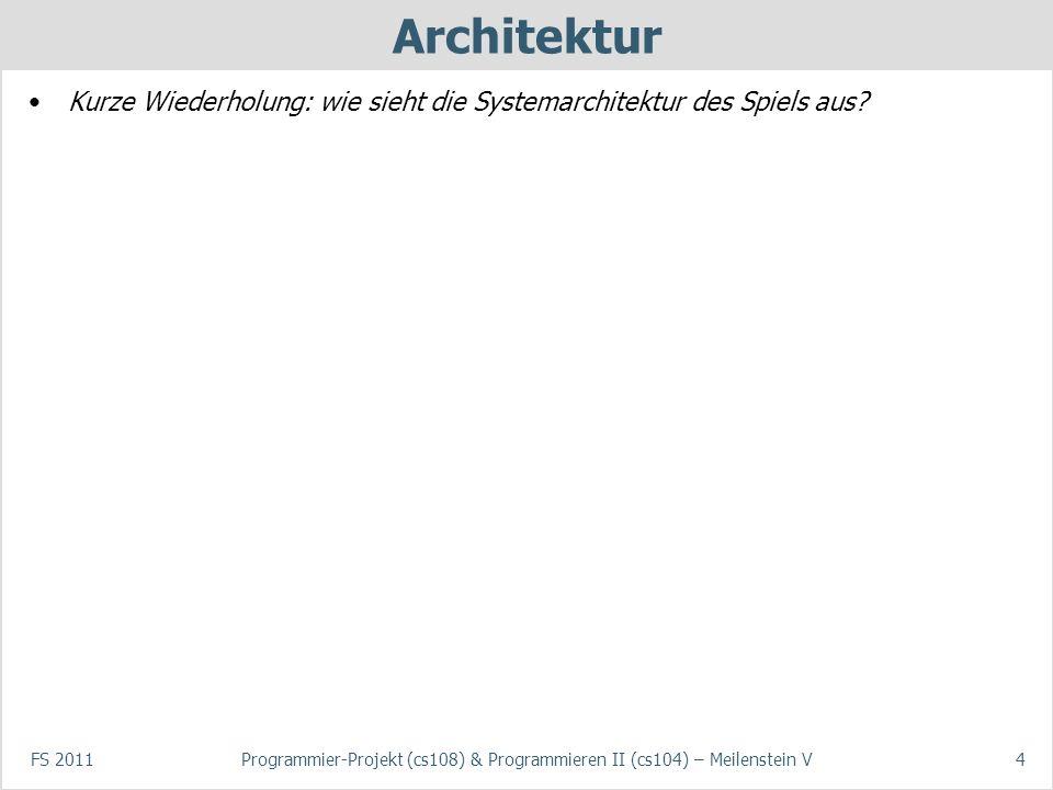 FS 2011Programmier-Projekt (cs108) & Programmieren II (cs104) – Meilenstein V4 Architektur Kurze Wiederholung: wie sieht die Systemarchitektur des Spiels aus?