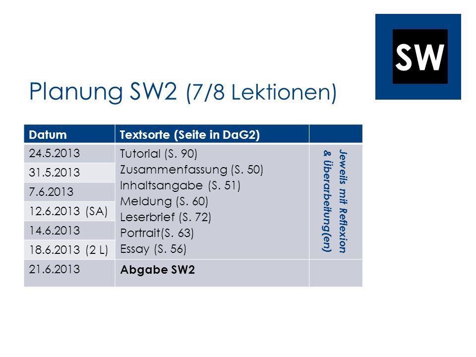 SW Planung SW2 (7/8 Lektionen) DatumTextsorte (Seite in DaG2) 24.5.2013 Tutorial (S. 90) Zusammenfassung (S. 50) Inhaltsangabe (S. 51) Meldung (S. 60)
