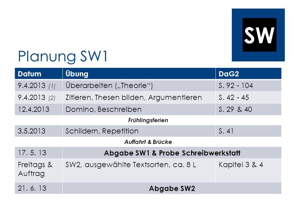 SW Planung SW1 DatumÜbungDaG2 9.4.2013 (1) Überarbeiten (Theorie)S. 92 - 104 9.4.2013 (2) Zitieren, Thesen bilden, ArgumentierenS. 42 - 45 12.4.2013Do