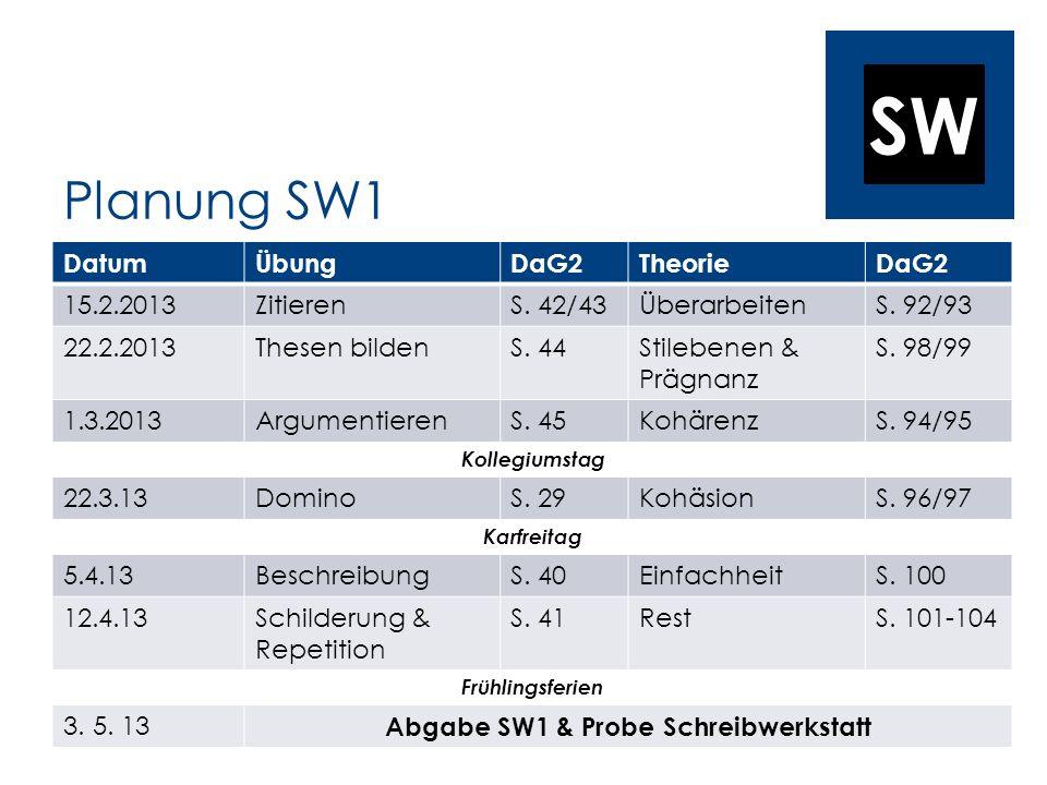 SW Planung SW1 DatumÜbungDaG2TheorieDaG2 15.2.2013ZitierenS. 42/43ÜberarbeitenS. 92/93 22.2.2013Thesen bildenS. 44Stilebenen & Prägnanz S. 98/99 1.3.2