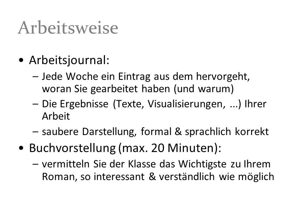 Gruppenroman: Kriterien 1.Das Arbeitsjournal erfüllt übliche formale Anforderungen 012345 z.B.: Sprachrichtigkeit, Zitate, übersichtliche Darstellung, angemessener Umfang, Vorgaben eingehalten,...