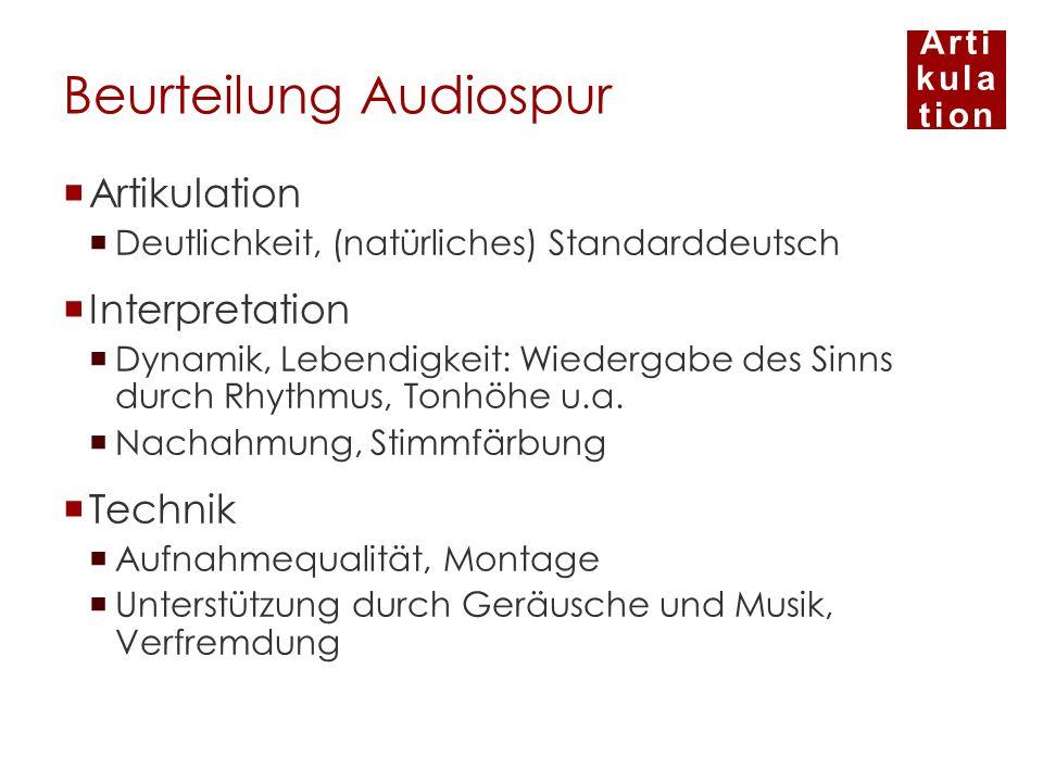 Arti kula tion Beurteilung Audiospur Artikulation Deutlichkeit, (natürliches) Standarddeutsch Interpretation Dynamik, Lebendigkeit: Wiedergabe des Sin