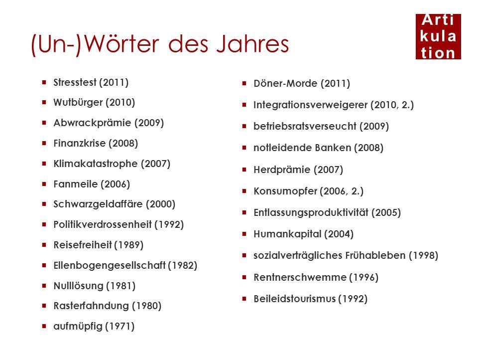 Arti kula tion (Un-)Wörter des Jahres Döner-Morde (2011) Integrationsverweigerer (2010, 2.) betriebsratsverseucht (2009) notleidende Banken (2008) Her