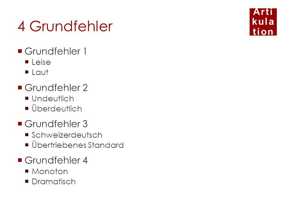 Arti kula tion 4 Grundfehler Grundfehler 1 Leise Laut Grundfehler 2 Undeutlich Überdeutlich Grundfehler 3 Schweizerdeutsch Übertriebenes Standard Grun