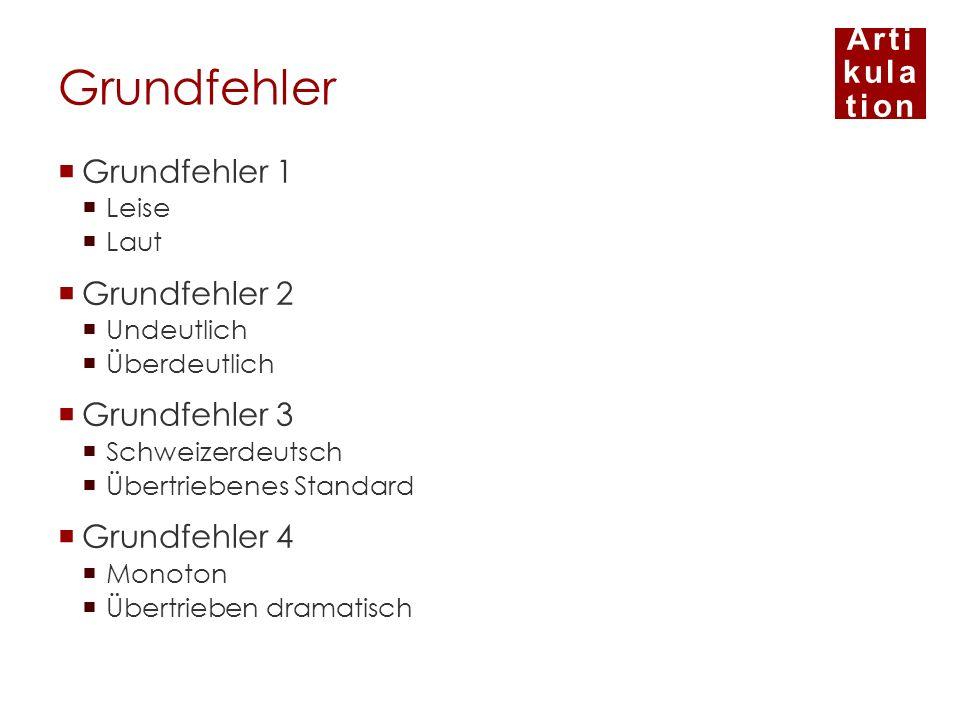 Arti kula tion Grundfehler Grundfehler 1 Leise Laut Grundfehler 2 Undeutlich Überdeutlich Grundfehler 3 Schweizerdeutsch Übertriebenes Standard Grundf