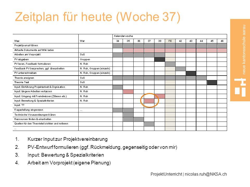 Zeitplan für heute (Woche 37) 1.Kurzer Input zur Projektvereinbarung 2.PV-Entwurf formulieren (ggf. Rückmeldung, gegenseitig oder von mir) 3.Input: Be