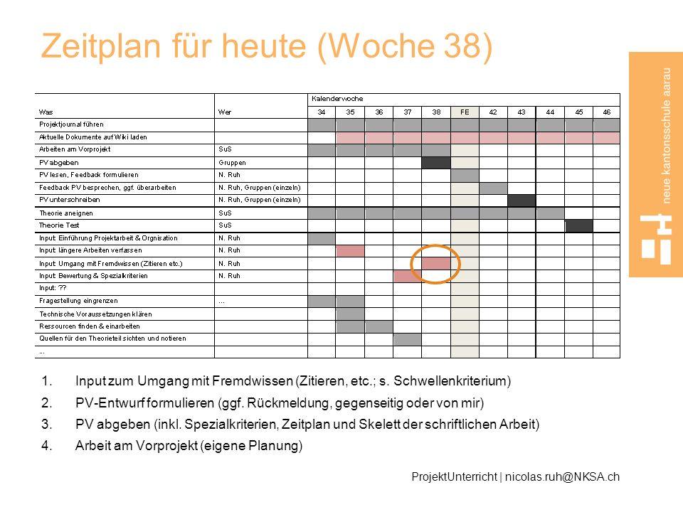 Zeitplan für heute (Woche 38) 1.Input zum Umgang mit Fremdwissen (Zitieren, etc.; s. Schwellenkriterium) 2.PV-Entwurf formulieren (ggf. Rückmeldung, g