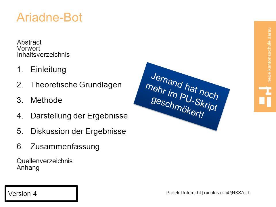 Ariadne-Bot, ein selbst gebauter Roboter, der aus beliebigen Labyrinthen herausfindet Abstract Vorwort Inhaltsverzeichnis 1.Einleitung 2.Theoretische Grundlagen 1.Einleitung 2.Hardware steuern mit Arduino Board 3.Arduino programmieren mit JAVA 4.Von einfachen und schwierigen Labyrinthen 5.Der Pledge-Algorithmus 6.Zusammenfassung 3.Methode 4.Herausforderungen für Ariadne-Bot 5.Abstrakte Labyrinthe in der realen Welt 6.Zusammenfassung Quellenverzeichnis Anhang ProjektUnterricht | nicolas.ruh@NKSA.ch Version 5 Jedes Kapitel ist ein kleiner Burger...