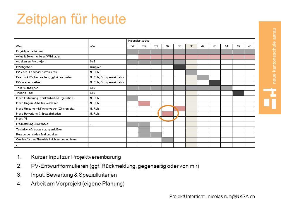 Zeitplan für heute 1.Kurzer Input zur Projektvereinbarung 2.PV-Entwurf formulieren (ggf. Rückmeldung, gegenseitig oder von mir) 3.Input: Bewertung & S