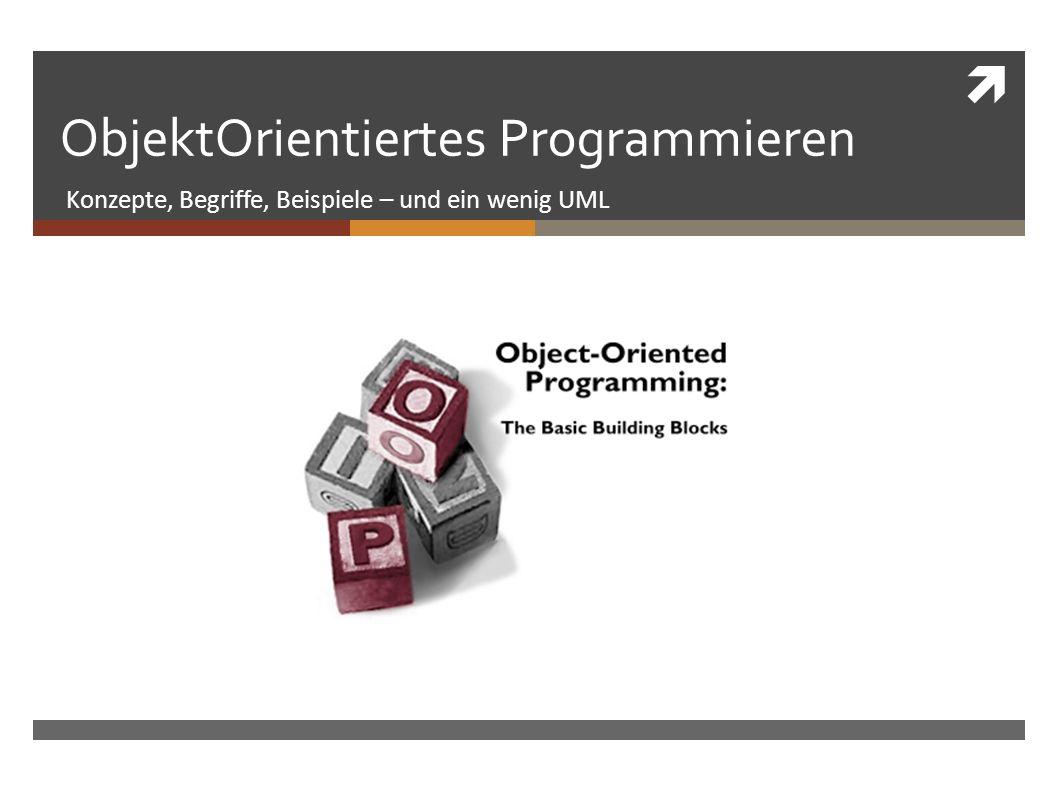 ObjektOrientiertes Programmieren Konzepte, Begriffe, Beispiele – und ein wenig UML