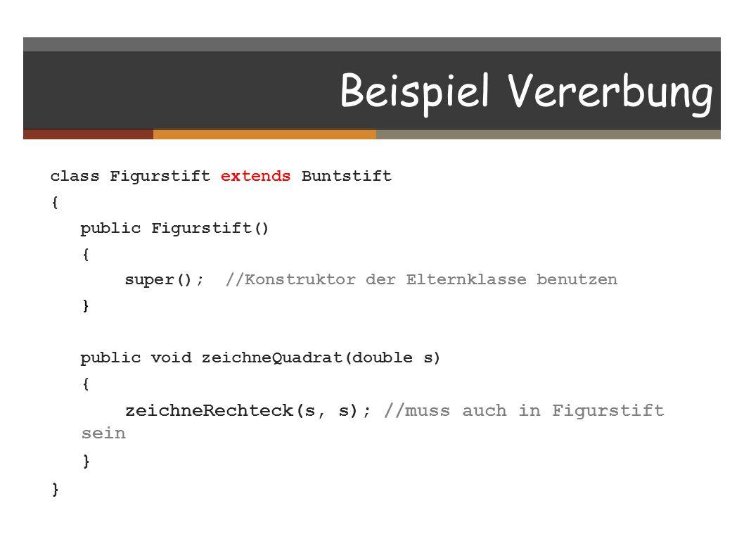 Beispiel Vererbung class Figurstift extends Buntstift { public Figurstift() { super(); //Konstruktor der Elternklasse benutzen } public void zeichneQu