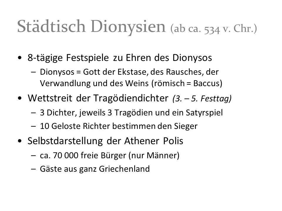 Städtisch Dionysien (ab ca. 534 v. Chr.) 8-tägige Festspiele zu Ehren des Dionysos –Dionysos = Gott der Ekstase, des Rausches, der Verwandlung und des