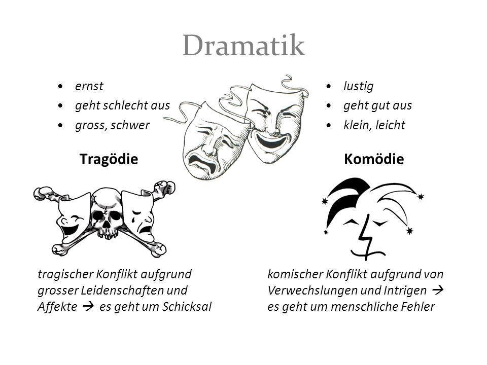 Dramatik Tragödie ernst geht schlecht aus gross, schwer Komödie lustig geht gut aus klein, leicht tragischer Konflikt aufgrund grosser Leidenschaften