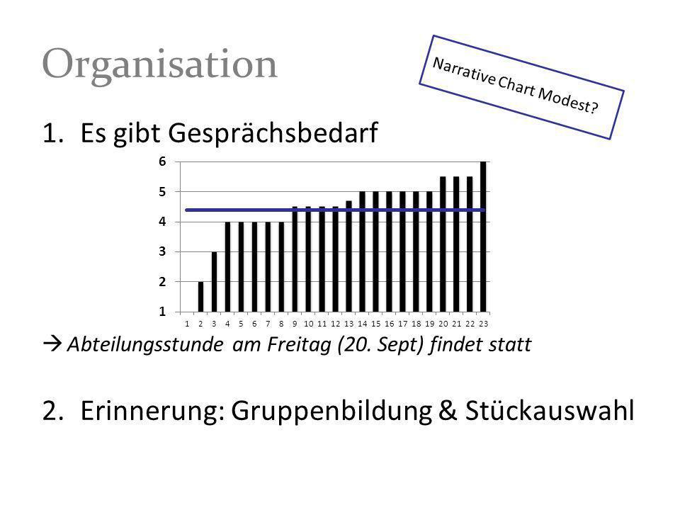 1.Es gibt Gesprächsbedarf Abteilungsstunde am Freitag (20. Sept) findet statt 2.Erinnerung: Gruppenbildung & Stückauswahl Organisation Narrative Chart