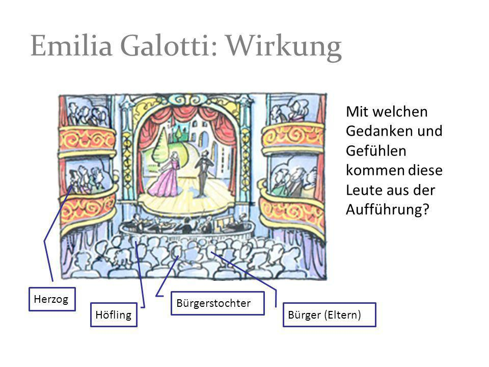 Emilia Galotti: Wirkung Mit welchen Gedanken und Gefühlen kommen diese Leute aus der Aufführung? Bürger (Eltern) Bürgerstochter Herzog Höfling