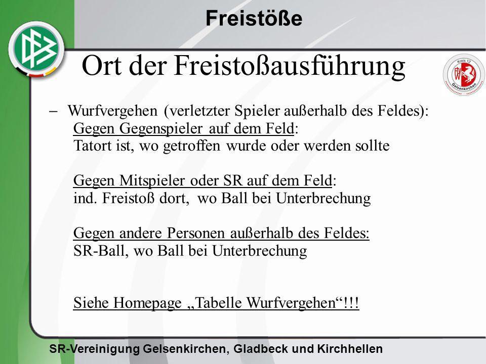 SR-Vereinigung Gelsenkirchen, Gladbeck und Kirchhellen Freistöße Wurfvergehen (verletzter Spieler außerhalb des Feldes): Gegen Gegenspieler auf dem Fe