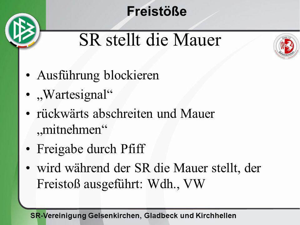 SR-Vereinigung Gelsenkirchen, Gladbeck und Kirchhellen Freistöße SR stellt die Mauer Ausführung blockieren Wartesignal rückwärts abschreiten und Mauer