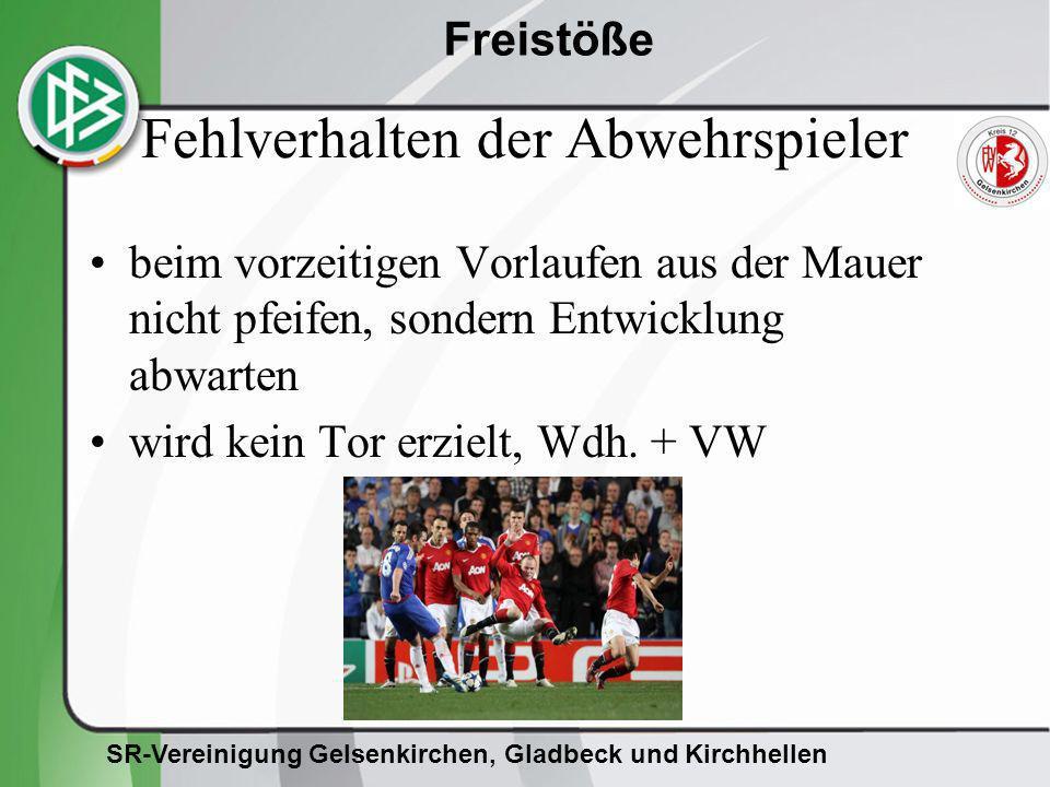 SR-Vereinigung Gelsenkirchen, Gladbeck und Kirchhellen Freistöße Fehlverhalten der Abwehrspieler beim vorzeitigen Vorlaufen aus der Mauer nicht pfeife