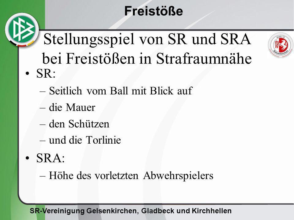 SR-Vereinigung Gelsenkirchen, Gladbeck und Kirchhellen Freistöße Stellungsspiel von SR und SRA bei Freistößen in Strafraumnähe SR: –Seitlich vom Ball