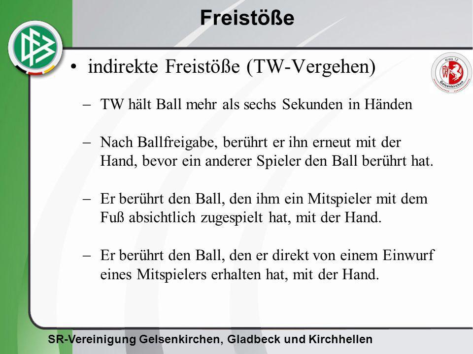 SR-Vereinigung Gelsenkirchen, Gladbeck und Kirchhellen Freistöße indirekte Freistöße (TW-Vergehen) TW hält Ball mehr als sechs Sekunden in Händen Nach