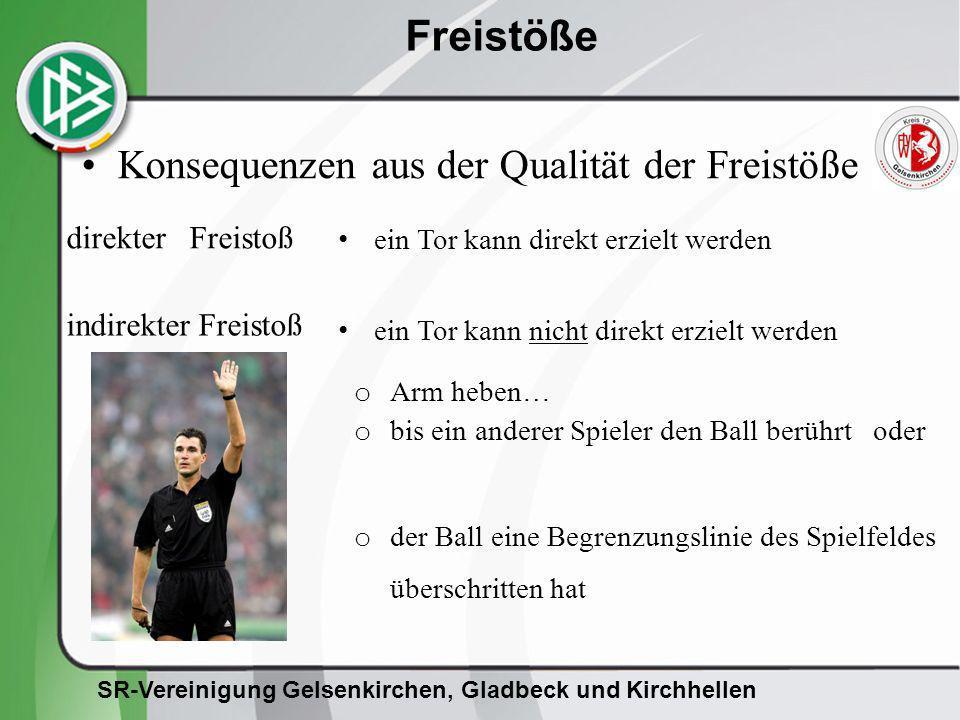 SR-Vereinigung Gelsenkirchen, Gladbeck und Kirchhellen Freistöße direkter Freistoß ein Tor kann direkt erzielt werden ein Tor kann nicht direkt erziel