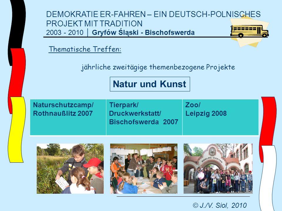 DEMOKRATIE ER-FAHREN – EIN DEUTSCH-POLNISCHES PROJEKT MIT TRADITION 2003 - 2010 Gryfów Śląski - Bischofswerda © J./V. Siol, 2010 jährliche zweitägige