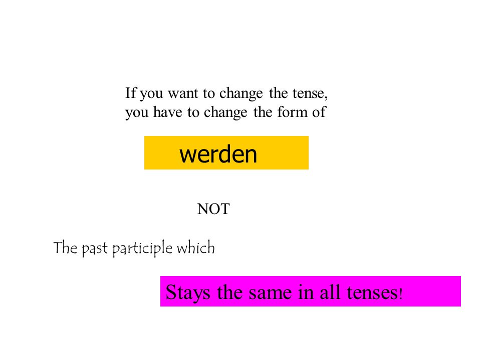 If you want to change the tense, you have to change the form of werden NOT The past participle which Stays the same in all tenses !