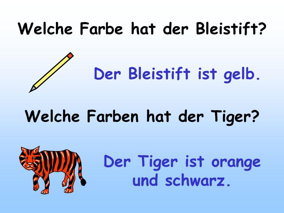 Welche Farbe hat der Bleistift? Der Bleistift ist gelb. Welche Farben hat der Tiger? Der Tiger ist orange und schwarz.