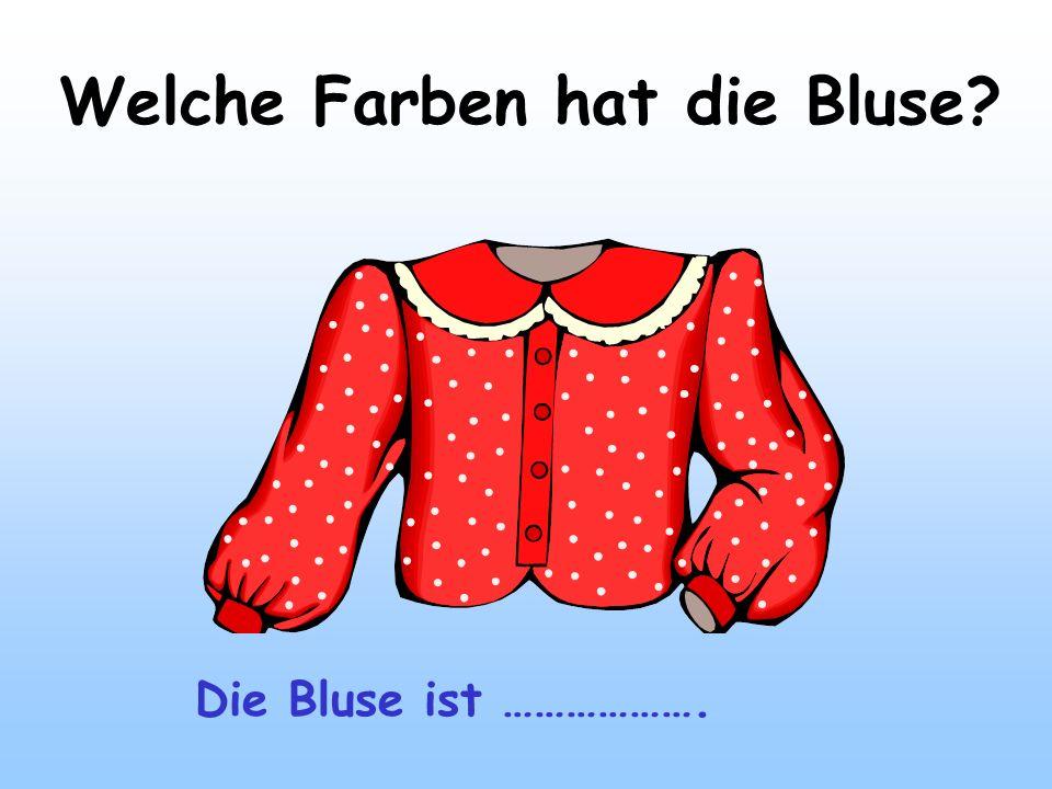 Welche Farben hat die Bluse? Die Bluse ist ……………….