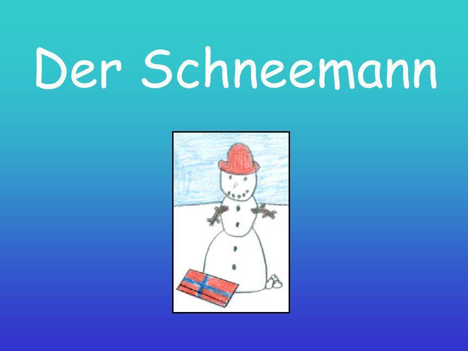 Der Schneemann ist sehr freundlich.Er hat einen roten Hut und er wohnt bei uns.