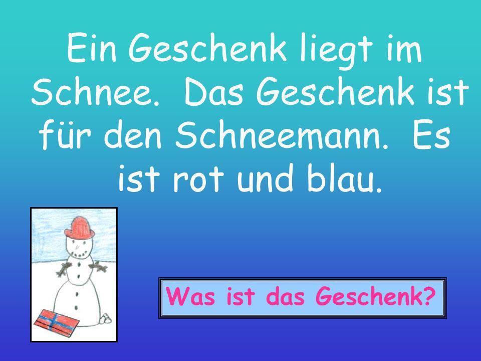 Ein Geschenk liegt im Schnee. Das Geschenk ist für den Schneemann. Es ist rot und blau. Was ist das Geschenk?