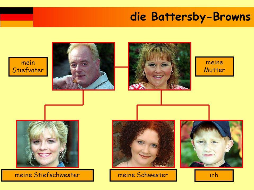 mein Stiefvater meine Mutter ich meine Schwestermeine Stiefschwester die Battersby-Browns