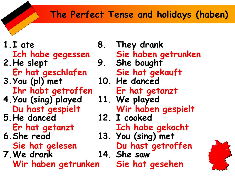 The Perfect Tense and holidays (haben) 1.I ate 2.He slept 3.You (pl) met 4.You (sing) played 5.He danced 6.She read 7.We drank 8.They drank 9.She boug