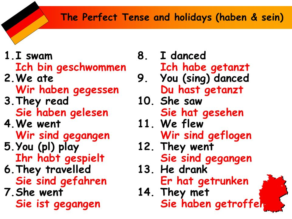 The Perfect Tense and holidays (haben & sein) 1.I swam 2.We ate 3.They read 4.We went 5.You (pl) play 6.They travelled 7.She went 8.I danced 9.You (si