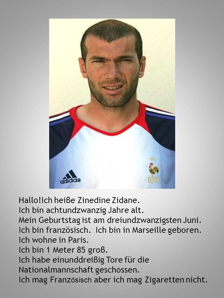 Hallo!Ich heiβe Zinedine Zidane. Ich bin achtundzwanzig Jahre alt. Mein Geburtstag ist am dreiundzwanzigsten Juni. Ich bin französisch. Ich bin in Mar