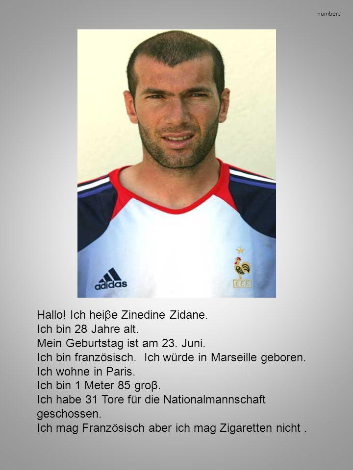 numbers Hallo! Ich heiβe Zinedine Zidane. Ich bin 28 Jahre alt. Mein Geburtstag ist am 23. Juni. Ich bin französisch. Ich würde in Marseille geboren.