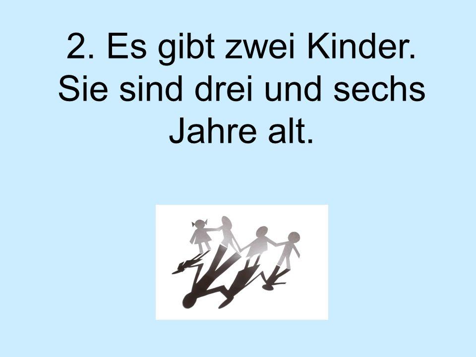 2. Es gibt zwei Kinder. Sie sind drei und sechs Jahre alt.
