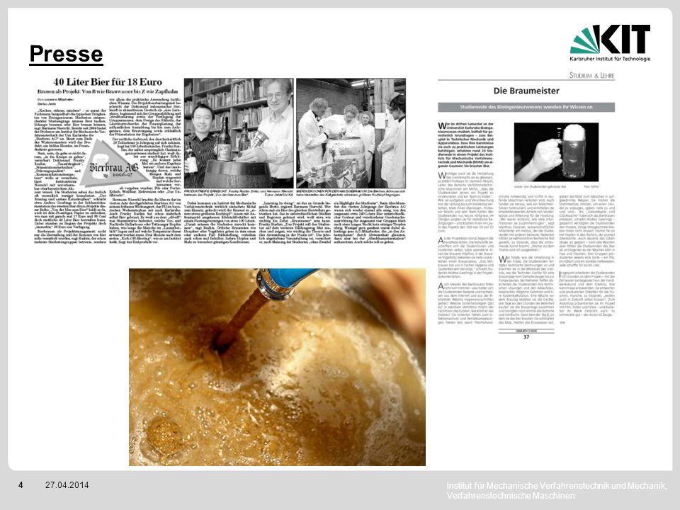 Institut für Mechanische Verfahrenstechnik und Mechanik, Verfahrenstechnische Maschinen 427.04.2014 Presse