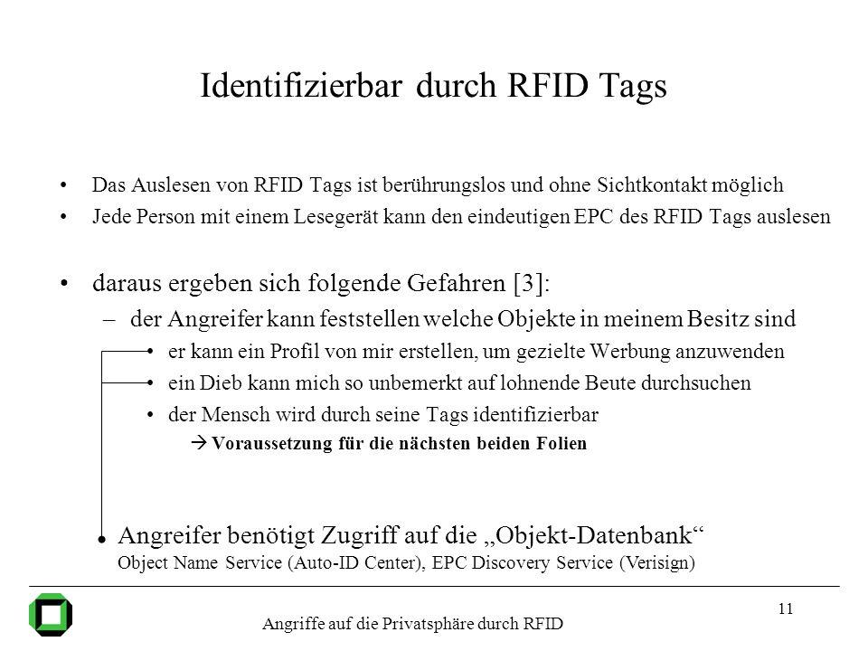 11 Identifizierbar durch RFID Tags Das Auslesen von RFID Tags ist berührungslos und ohne Sichtkontakt möglich Jede Person mit einem Lesegerät kann den