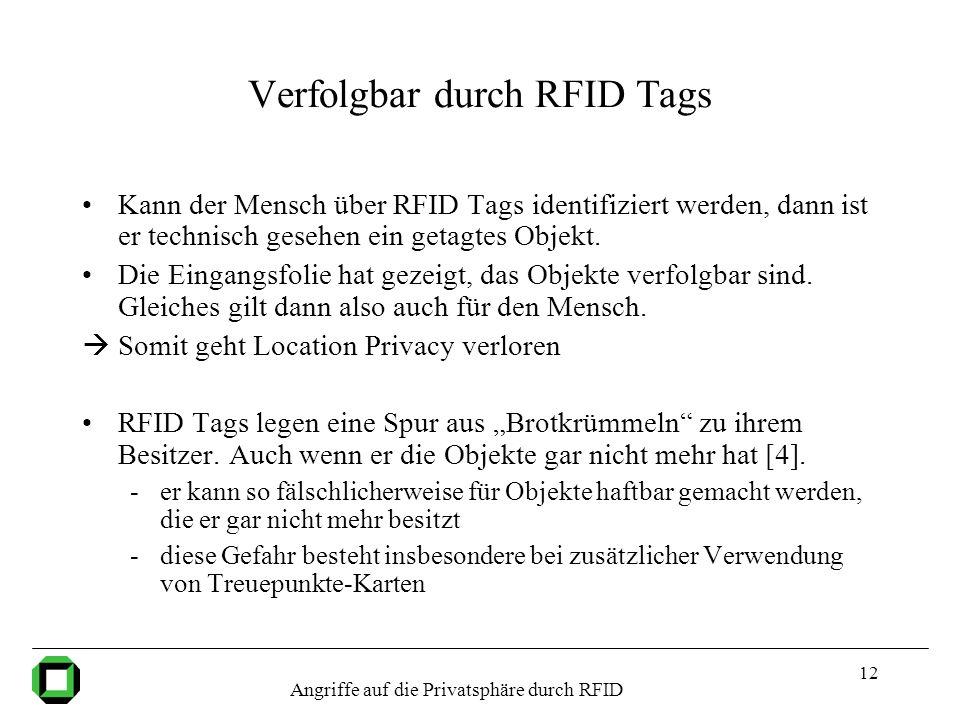 12 Verfolgbar durch RFID Tags Kann der Mensch über RFID Tags identifiziert werden, dann ist er technisch gesehen ein getagtes Objekt. Die Eingangsfoli