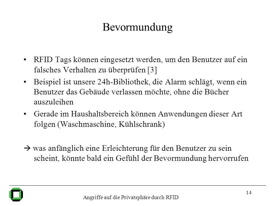 14 Bevormundung RFID Tags können eingesetzt werden, um den Benutzer auf ein falsches Verhalten zu überprüfen [3] Beispiel ist unsere 24h-Bibliothek, d